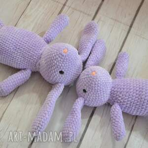 króliczek maskotki szydełkowy mały - fiolet.