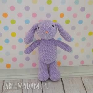maskotki króliczek szydełkowy mały - fiolet.