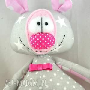 miś maskotki różowe szyta przytulanka - franek