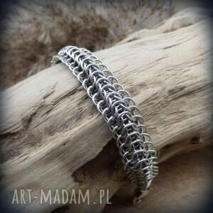 chainmaille męska szare aluminiowa bransoleta