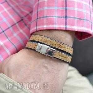 atrakcyjne męska bransoletka korek jeans joyee cork