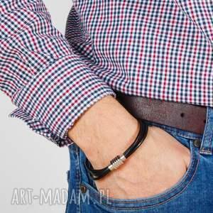 Argento akcesoria męska: Modna bransoleta skórzana rzemień