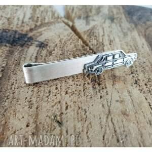 czarne srebro srebrna spinka do krawata z fiat