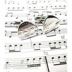 gitarzysta-spinki męska srebrne spinki do mankietów kostka