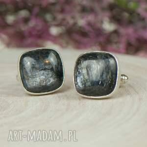 spinki-do-mankietów męska niebieskie srebrne spinki do mankietów