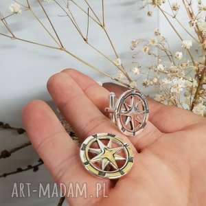 czarne męska srebro srebrne spinki do mankietów róża