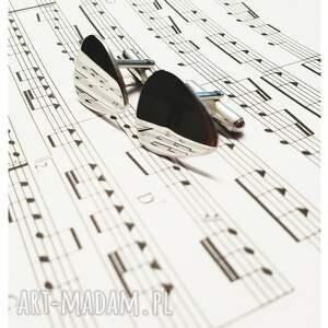 męska gitarzysta-spinki srebrne spinki do mankietów kostka
