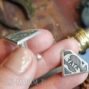 nietypowe męska srebro srebrne spinki do mankietów dla
