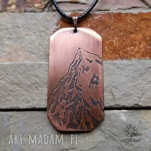 handmade męska everest wisior z trawionej miedzi - mount