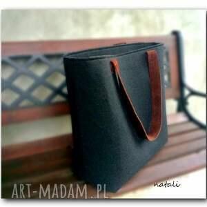 hand made torba duża czarna, minimalistyczna