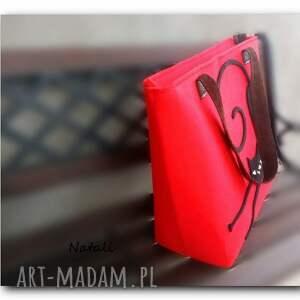 efektowne torebka duża czerwona, minimalistyczna
