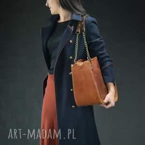 brązowe torba do biura kuferek ręcznie robiona