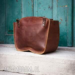 torba miejska pomarańczowe kuferek ręcznie robiona