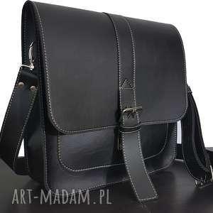 hand made torba listonoszka, na ramię, czarny