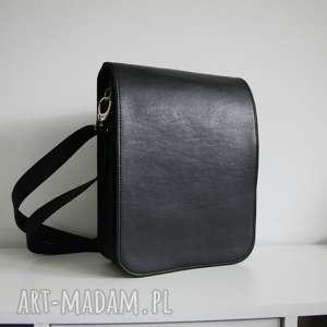 czarne męska torba na ramię z filcu i eko