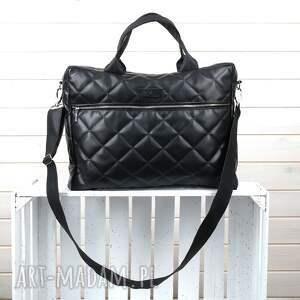 GoDeco Pojemna torba aktówka laptop czarna pikowana elegancka