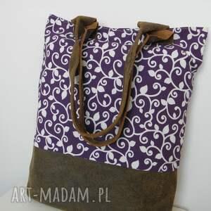 len shopper bag fioletowa - skóra