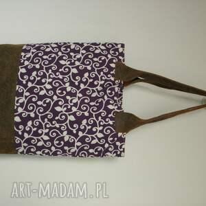 fioletowe rewelacyjna unikatowa torba typu shopper bag