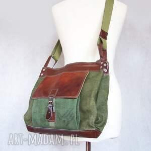 zielone unisex torba włóczykija a4 brezent skóra
