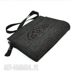 handmade mini ażurowa mała torebka filcowa - grafit