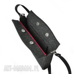 ażurowa mini różowe mała torebka filcowa - grafit
