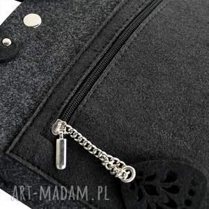 mini listonoszka mała torebka filcowa - grafitowy