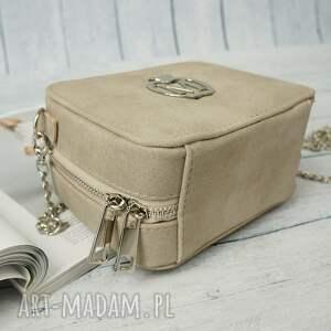 torebka mini beżowe minilistonoszka, w całości usztywniona