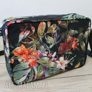 pomysł na upominki elegancka single bag - tropikalne kwiaty