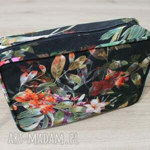 pomysł na upominki czarne single bag - tropikalne kwiaty