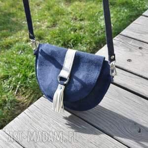 niebieskie mini welur skórzana torebka dla dziewczynki