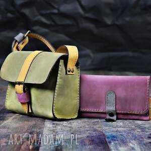 gustowne torba skórzana torebeczka mini z portfelem