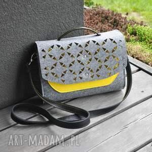 żółte mini torebka filcowa - żółta kieszonka -