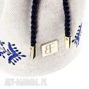 niebieskie mini lniana torebka taszka 414