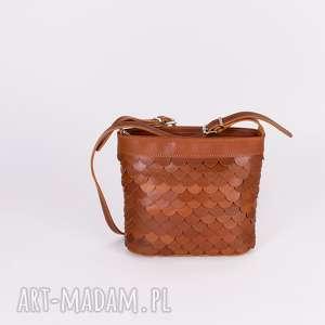 mini: Torebka Łuska mała koniak - handmade skóra