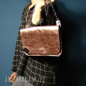 ręcznie wykonane mini rękodzieło torebka skórzana - różowe