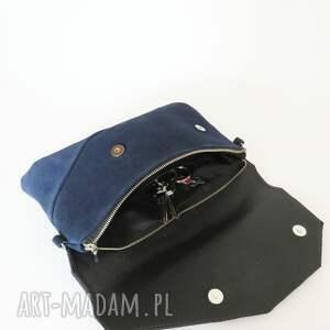 damaska torebka zamszowa granatowa