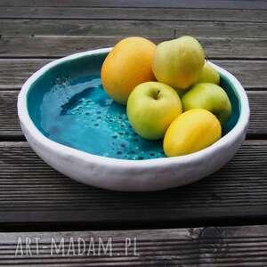 nietypowe ceramika misa xl z turkusowym środkiem.