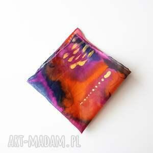 Malowana poszetka - abstrakcyjne kolory - kolorowa
