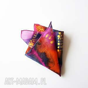 poszetka muchy i muszki pomarańczowe malowana - abstrakcyjne