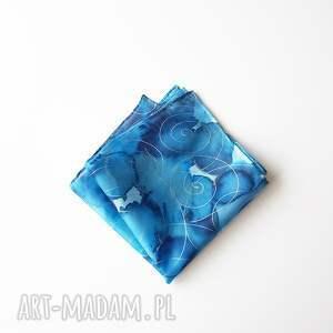 poszetka malowana - niebieskości i