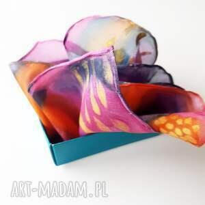 kolorowa muchy i muszki malowana poszetka - abstrakcyjne