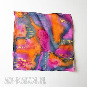 muchy i muszki kolorowa malowana poszetka - abstrakcyjne