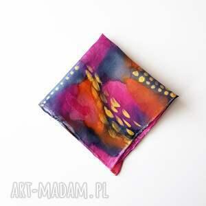 Malowana poszetka - abstrakcyjne kolory - kolorowa jedwabna