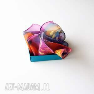 niepowtarzalne muchy i muszki kolorowa malowana poszetka - abstrakcyjne