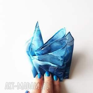 muchy i muszki malowana poszewka poszetka - niebieskości i