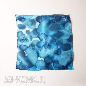 muchy i muszki malowana-poszewka malowana poszetka - niebieskości