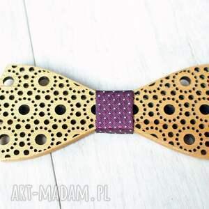 muchy i muszki: zestaw drewniana muszka poszetka spinki spots fiolet - prezent