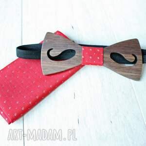EkoCraft muchy i muszki: zestaw drewniana muszka poszetka classic mustache czerwień - prezent ślub