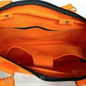 TOTOSTYLE CityFelt - torebka neseser, torba na laptop pomarańczowa - Ręcznie filc