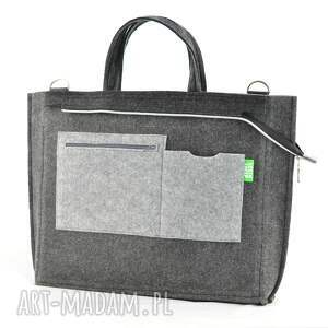 torba duża grafitowa torebka - laptopówka